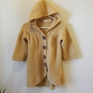 Mustard Yellow Hooded Cardigan w/ Wood Buttons
